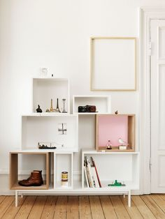 Buy Muuto Stacked Ash Shelf With Rose Backboard - Medium online with Houseology Price Promise. Full Muuto collection with UK & International shipping. Ikea Valje, Diy Furniture, Furniture Design, Furniture Online, Furniture Storage, Muuto, Crate Shelves, Box Shelves, Storage Shelves