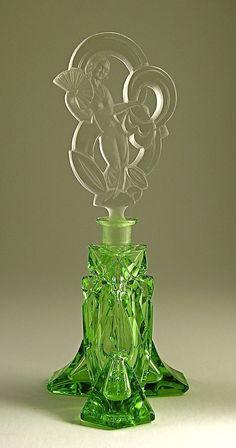 Vintage 1930s Art Deco Czech Perfume Bottle