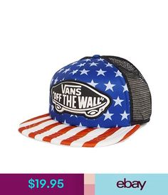 52183ccef3b Hats Vans Off The Wall Men s Classic Patch American Flag Trucker Hat Cap  Beach Girl