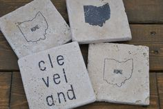 Cleveland Ohio Natural Stone Coasters. Set of 4. by frecklesonme