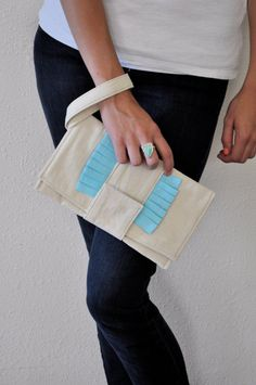 Sweet Pleat Clutch in natural and blue ready to by MarigoldandSage, $40.00