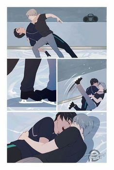"""simrell: """" my piece for the yuri on ice zine """"ai"""". i chose the theme ludus, playful love! and decided to draw yuuri and viktor practicing their stammi vicino duet but tripping all over each other and giggling. Katsuki Yuri, Yuuri Katsuki, Fanarts Anime, Manga Anime, Victor Y Yuri, Yurio And Otabek, Fangirl, Yuri On Ice Comic, Eren Y Levi"""