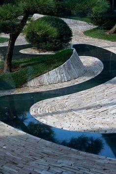 What Is Landscape, Landscape Design Plans, Landscape Architecture, Modern Landscaping, Outdoor Landscaping, Riverside Garden, Zen Garden Design, Indoor Water Fountains, Tiered Garden