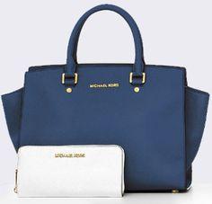 MK navy Selma satchel and white wallet. Love it!