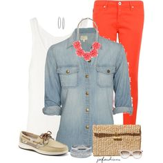 Orange + Denim by jafashions on Polyvore featuring polyvore, fashion, style, Current/Elliott, rag & bone, AG Adriano Goldschmied, Sperry Top-Sider, Scotch & Soda, J.Crew, Wet Seal, Sterling Essentials and Kate Spade