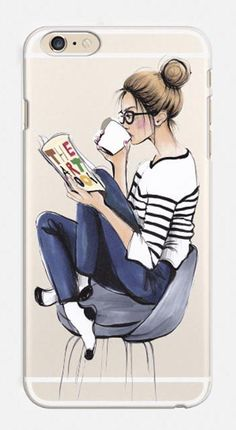 "Clear iPhone Case, ""Coffee Break"" illustration by anna hammer"