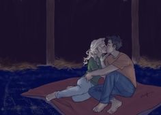 percy and annabeth in the Argo II stables