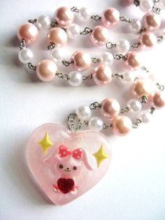 Pearl Bunny Necklace Kawaii Resin Jewelry in Pink by Allysin, $25.00