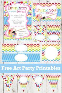 free rainbow art party printables