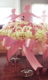 Ballerina floral centerpieces would be great for a Bat Mitzvah centerpiece