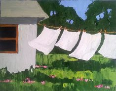 Original Oil Painting 16x20 Impressionist California BACKYARD CLOTHESLINE Lynne French Art Seascape Landscape. $88.00, via Etsy.