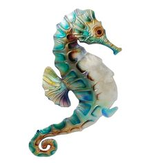 Metal Walls, Metal Wall Art, Wall Sculptures, Sculpture Art, Seahorse Art, Seahorses, Colorful Seahorse, Seahorse Painting, Colorful Fish
