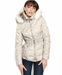 Laundry by Shelli Segal Faux-Fur-Trim Hooded Puffer Parka - Web Busters - Sale - Macy's