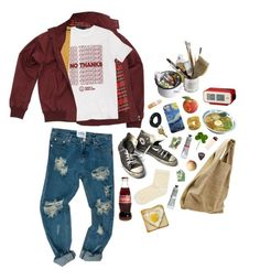 """no thanks x9"" by kampow ❤ liked on Polyvore featuring Fred Perry, Topshop, Converse, Mason's, Alexander Wang, SELECTED, Tony Moly and vintage"