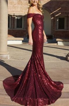mermaid long prom dresses, burgundy prom dresses, #promdress #sequins