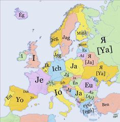 ".Map: How to say ""I"" in various European languages."