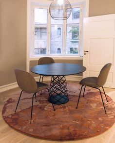 Made for the Head Quaters of the Norwegian Business Registry. Norway Design, Innovative Office, Dining Chairs, Dining Table, Property Development, Rectangular Rugs, Hand Tufted Rugs, Custom Rugs, Office Walls
