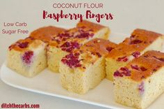 Beautiful sugar-free coconut flour raspberry fingers. Light and tasty, gluten free heaven without the carbs or sugar.   ditchthecarbs.com