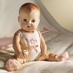 Tiny Tears was introduced in 1950 and remained in production through 1968.  Her distinguishing feature was her ability to shed tears from two tiny holes on either side of her nose when her stomach was pressed after being filled with water from her baby bottle.  Tiny Tears became one of the most popular dolls of the 1950s. Her success was due in part to television ads featuring a young Patty Duke.