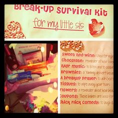 """""""Break-Up Survival Kit"""" gift after someone's breakup, hopefully won't have to give this to anyone, But good idea just in case Chi Omega, Cute Gifts, Diy Gifts, Total Sorority Move, Just In Case, Just For You, Little Sis, Big Sis, Decoupage"""