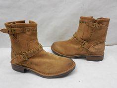 New UGG Womens 1003235 Cognac Suede Fabrizia Stud Moto Booties Boots Size 7 #UGGAustralia #BikerBoots #Casual