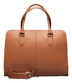"Su.B Women's 15"" 14"" inch Professional Design Laptop Bag Genuine Leather -Made in Italy (Light Brown)"