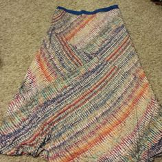 Multicolored Maxi Skirt Royal blue waist band, the size is 1X but it fits like a 2X. ana Skirts Maxi