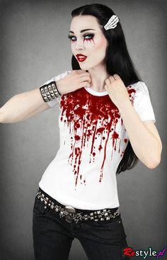 Restyle Blood Splatter Gothic Goth Horror TShirt