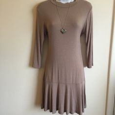 Brand new cute and comfy taupe dress. Super soft. Firm unless bundled.  Heart and Hips Dresses Midi