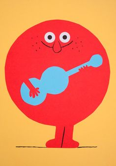 Fun guitar-playing character by Spanish illustrator Puño.