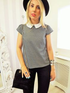 Gingham Contrast Peter Pan Collar Blouse Olivia PARIS CHIC Blogger Shirt 10 12