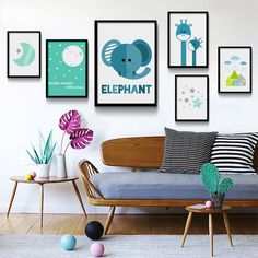 Nordic Art Cartoon Elephant Moon Star Minimalism Canvas Poster Kids Room Decor | Art, Art Posters | eBay!