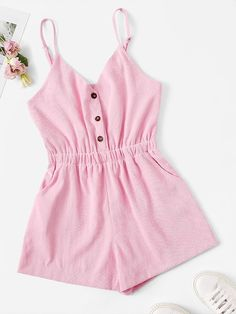 Shop Button Detail Cami Playsuit at ROMWE, discover more fashion styles online. Cute Comfy Outfits, Cute Girl Outfits, Cute Summer Outfits, Pretty Outfits, Girls Fashion Clothes, Teen Fashion Outfits, Girl Fashion, Jumpsuits For Girls, Rompers Women