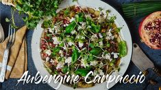 INGREDIENTS 3 big eggplants 3 tbsp extra virgin olive oil 75 g Tahini sesame paste 2 tablespoons feta cheese, crumbled 3 tbsp fresh watercress 2 tablespoons chopped, fresh basil 1 tablespoon choppe… Easy Healthy Recipes, Easy Meals, Carpaccio Recipe, Dim Sum, Antipasto, Eggplant, Vegetable Pizza, Feta, A Food