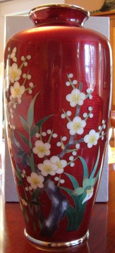A Japanese Antique Silver Ando Cloisonne Vase On Japanese