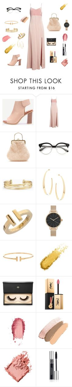 """""""Pink Velvet"""" by szluca27 ❤ liked on Polyvore featuring Leith, Shrimps, Stella & Dot, Lana, Tiffany & Co., Lash Star Beauty, Yves Saint Laurent, SkinCare, Bobbi Brown Cosmetics and Christian Dior"""