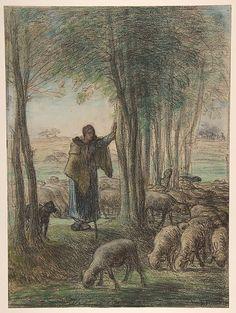 Jean-François Millet - Bergère et son troupeau à l'ombre des arbres (1854)