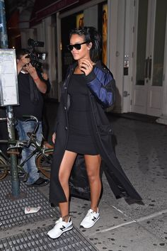 Copy Rihanna's outfit and you'll be Fall AND Spring appropriate all at once.