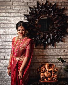 Her face flushed with happiness.The time has come to stand side by side forever. Pattu Sarees Wedding, Indian Bridal Sarees, Bridal Silk Saree, Indian Bridal Outfits, Indian Bridal Wear, Bridal Dresses, Indian Wedding Bride, South Indian Bride, Tamil Wedding