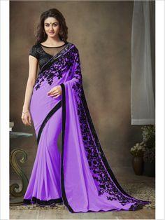 Purple Party Wear Georgette Saree