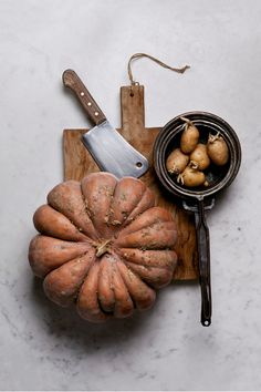 potatos, pumpkin, marble, table, wood, knife, pot, vegetables, plate, recipe, stilllife, food, design, cooking, chopping board, zenithal, from the top, orange, yellow, white