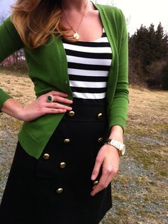 Black gold button skirt + black/white stripes + emerald green cardigan = one gorgeous outfit!