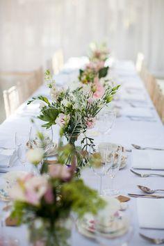 Jar Flowers Table Centrepiece Pink Green Cream Graceful Walled Garden Wedding http://helenkingphotography.co.uk/