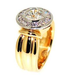 Hammer set round brilliant cut diamond with white gold channel set diamond cluster surround. The shaped shank yellow gold. Suits a centre stone of Also available in platinum or 1 colour of gold. Or Martelé, Jewelry Rings, Jewelery, Rings N Things, Right Hand Rings, Dress Rings, Gold Engagement Rings, Diamond Are A Girls Best Friend, Beautiful Rings