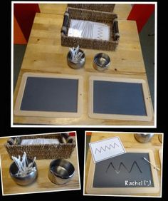 "Mark making with water and cotton buds on chalkboards - free line design cards - from Rachel ("",) Motor Skills Activities, Montessori Activities, Writing Activities, Fine Motor Skills, Letter Activities, Finger Gym, Funky Fingers, Pre Writing, Writing Table"