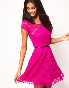 Enlarge ASOS Lace Skater Dress with Belt