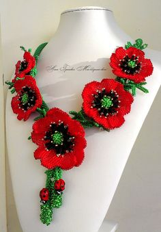 Jewelry.Beaded necklace.Poppies necklace.Red beaded necklace.Ukrainian beaded jewelry.Ukraine.Beaded flowers poppies.Gifts for women.