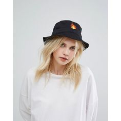 Adolescent Bucket Hat with Flame Embroidery (746.585 VND) ❤ liked on Polyvore featuring accessories, hats, black, short brim hat, fisherman hat, embroidered hats, embroidery hats and bucket hat