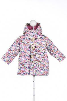 JOJO MAMAN BEBE PINK AND PURPLE FLORAL FLEECE LINED WATERPROOF JACKET *SIZE 2-3