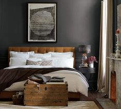 Bedroom color scheme & bed!  Charcoal & toffee!
